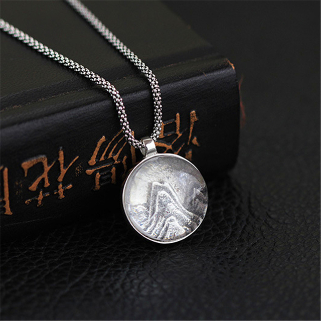 New Arrival 925 Sterling Silver Handmade Women Jewelry Very Special Mountain Reliefs Design Pendant Natural Crystal