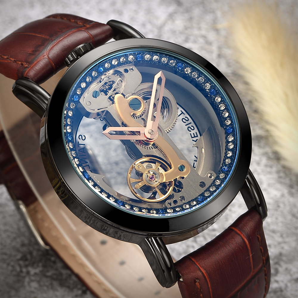 2019 Fashion Skeleton Sapphire Crystal Women Mechanical Watch Luxury Brand Leather Women Automatic Watch Women Relogio Feminino