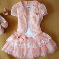 Anlencool envío libre 2017 última encaje super lindo dress de la niñas bebés dress dress set baby girl set de ropa de la muchacha set