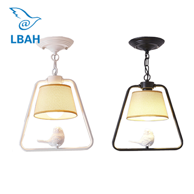 Nordic creative balcony simple modern bird chandelier personality dining room lamp corridor porch light fixture simple style ceiling light wooden porch lamp square ceiling lamp modern single head decorative lamp for balcony corridor study