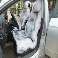 Free Shipping Deluxe Winter Plush Australian Sheepskin Car Seat Cover for One Front Seat Fur Auto Car Cushion Universal Car Cape