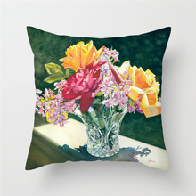 Fuwatacchi Sunflower Bloom Pillow Covers Flower Throw Pillows Rose Cushion Covers  for Sofa Home Chair Decorative Pillowcases цены