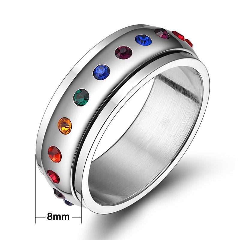 Sz 5-12 Multicolour Zircon Titanium Steel Engagement Women's Wedding Band Ring