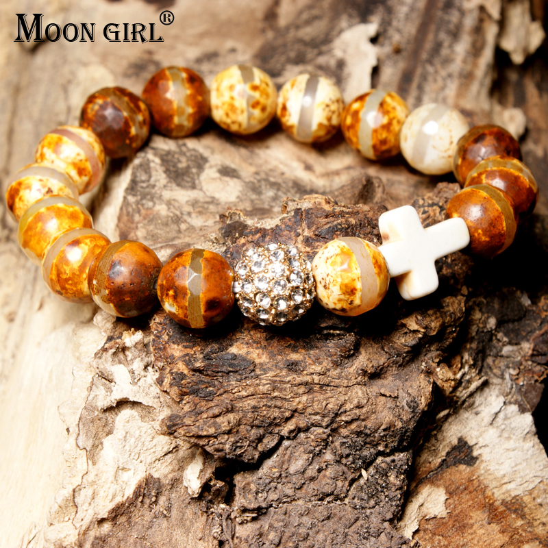 MOON GIRL Stretchy 10MM Natural Stones Pave Ball Cross Elastic Bracelet Beaded Boho Chic Yoga Bracelets Femme Jewelry Dropship