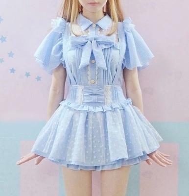 2016 Mulheres Verão Arco laço Lolita Blusa xadrez Rendas Coração colarinho Blusa Rosa Azul Manga Borboleta Bonito Kawaii Mori Meninas camisas