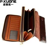 P KUONE Brand Oil Wax Cowhide Leather Long Wallet Men Clutch Bag Double Zipper Wallet Genuine