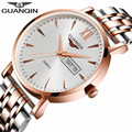 GUANQIN Men's Watches Fashion Simple Quartz Watch Men Watch Top Brand Luxury Stainless Steel Strap Wristwatch relogio masculino