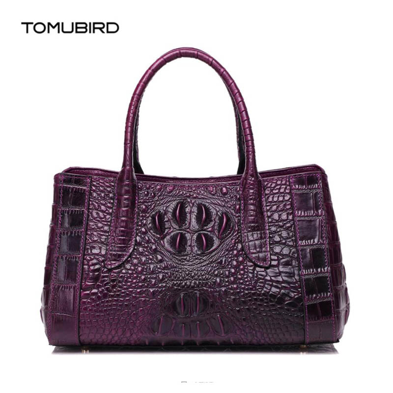 где купить TOMUBIRD 2018 new superior genuine leather handbags brand women bag Embossed Crocodile Designer tote bag Leather shoulder bag дешево