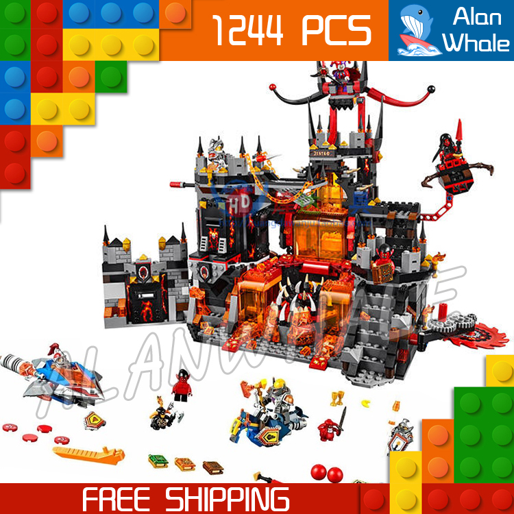 1244pcs New 14019 Combination Knights Jestros Vulkanfestung model building blocks toys Nexus Compatible With Lego bela nexus knights building blocks toy set lance s mecha horse gifts toys compatible with 70312 knights robotics mindstorm