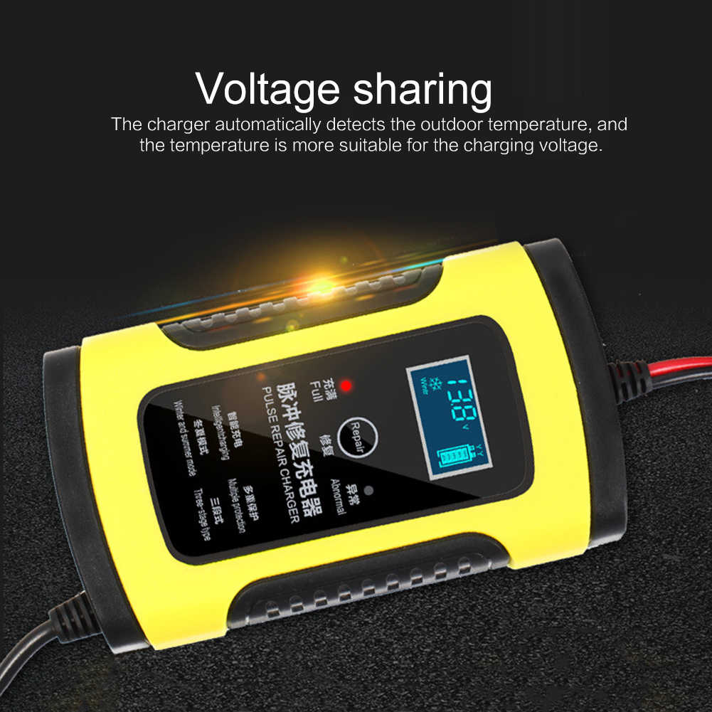 Upgraded 12V 6A Pulse Repair Charger with LCD Display Motorcycle Car Battery Charger 12V AGM GEL WET Lead Acid Battery Charger