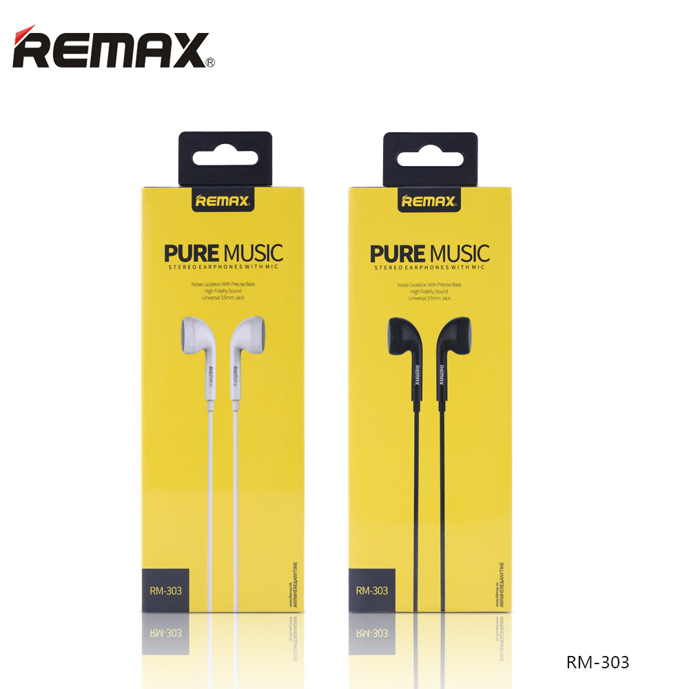 Remax Portable RM 303 CLASSIC AUDIO PURE MUSIC Earphone 3.5mm In-Ear Bass Wire headsets With Switch Songs and Mic for iphone 6 image