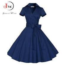 Plus Size Women Clothing Summer Solid Color Party Office Robe Sexy 50s Vintage Big Swing Mini Dress
