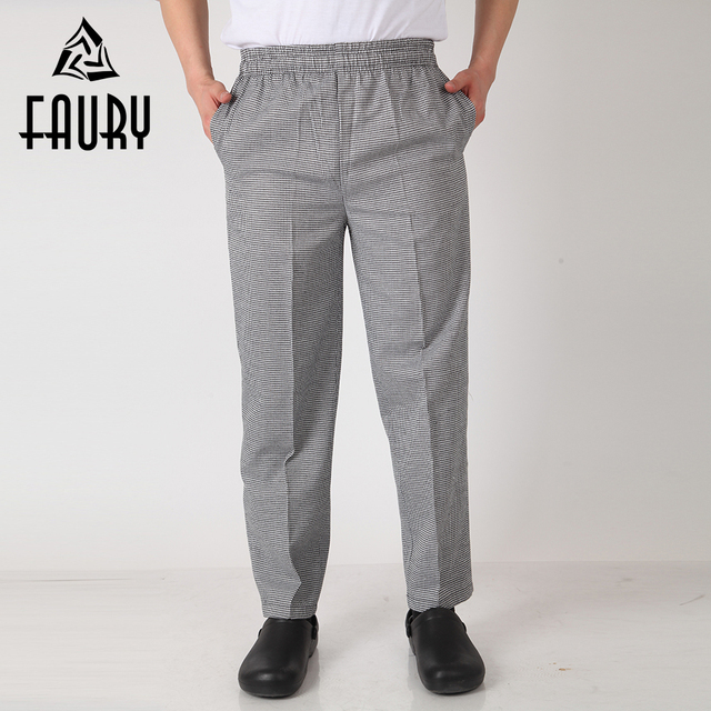 7363e65ac7b3ad Men Chef Restaurant Kitchen Work Elastic Waistband Cozinha Hotel Food  Service Working Pants Long Trousers with Pockets