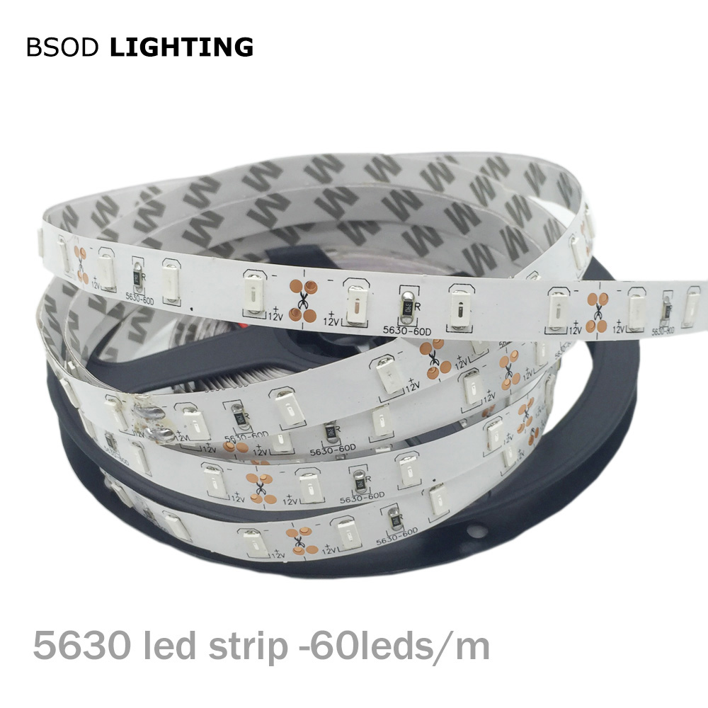 BSOD LED Strip SMD 5630 Led Line DC12V 60 Leds/m Light Line Led Tape No Waterproof White Warm White Flexible Led Lighting