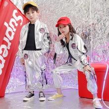 Детская Концертная одежда в стиле хип-хоп; свободная куртка; топы; штаны для девочек и мальчиков; танцевальный костюм с блестками; одежда для бальных танцев