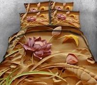Embossed Lotus 3d effect photo bed linen can be customized photo pattern