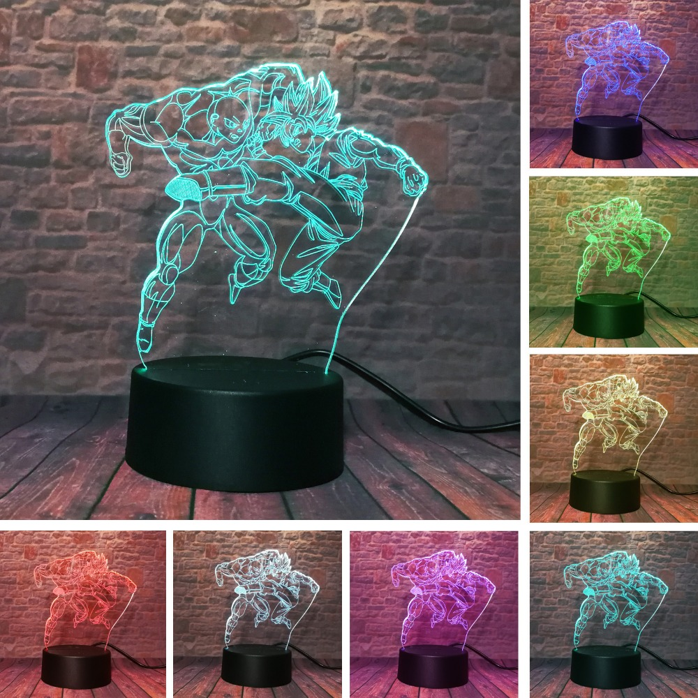 Dragon Ball Z Night Light Son Goku VS Jiren 3D Illusion Table Lamp 7 Color Changing USBTouch Action Figure Xmas Birthday Gifts