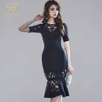 H Han Queen 2019 Spring New Hollow Out Trumpet Bodycon Dress Women Sexy Lace Bottoming Dresses Elegant OL Cocktail Party Vetidos