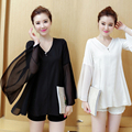 Chiffon Blouse Women 2016 Long Sleeve Lace Maternity White Black Blouse Plus Size 5xl Casual Clothing Lady V-neck Blouses Shirts