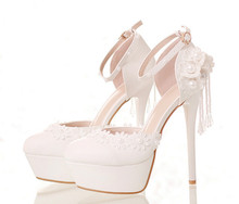 White lace flowers bridal shoes High with waterproof round shoes summer wedding Shoes and sandals summer