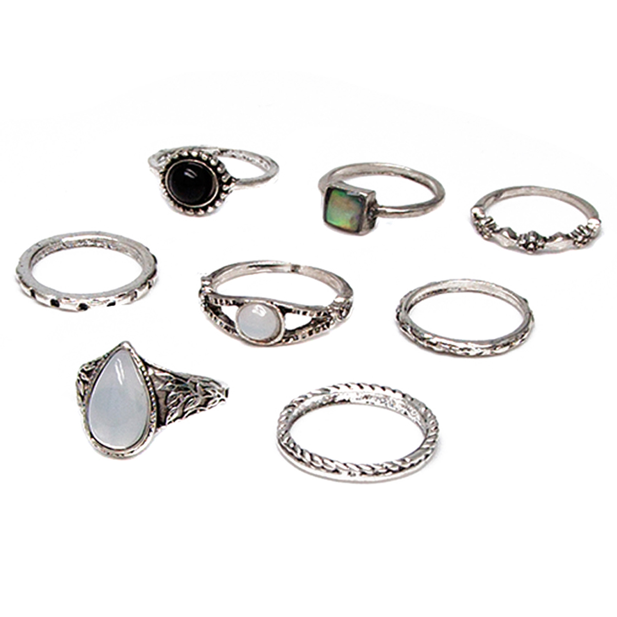 8PCS/Set Shellhard Vintage Rings Sets Boho Opal Stone Midi Above Knuckle Ring For Women Party Jewerly Gifts Accessories