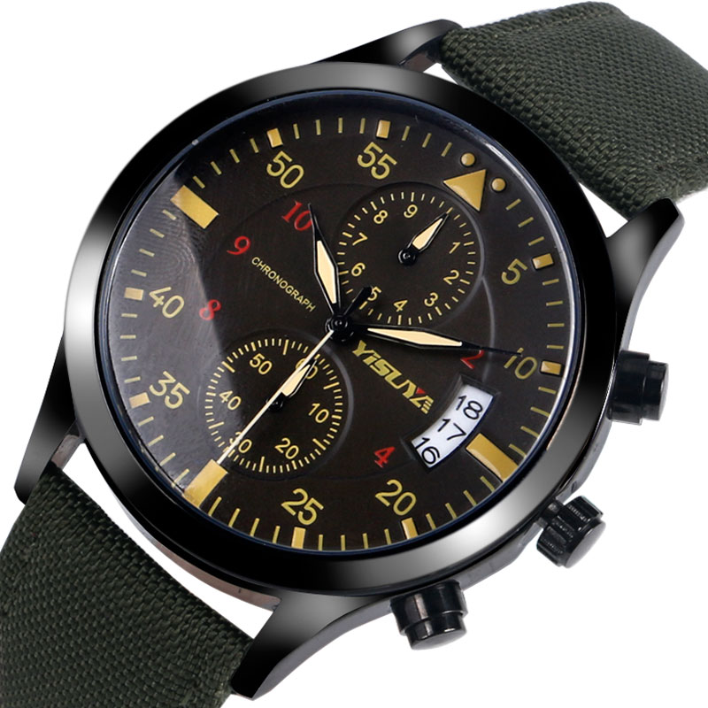 New Arrival Chronograph Mens Army Green Nylon Strap Band Fashion Analog Day Date Casual Calendar Wrist Watch