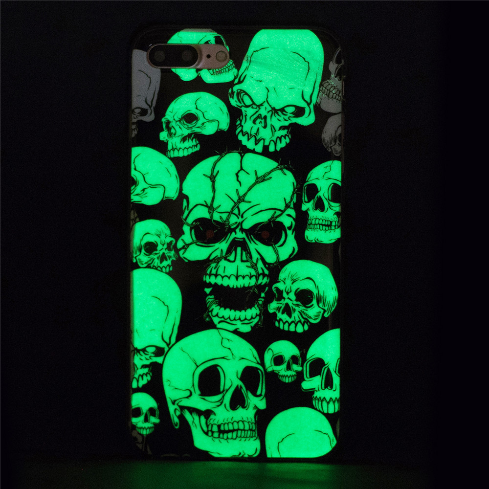 Luminous Skull Head Green Glow TPU Case For Samsung S6 S7 A3 A5 J3 J5 J7 Huawei P8lite Mote G4 Sony XA LG G6 K8 K10 GOOGLE Pixel