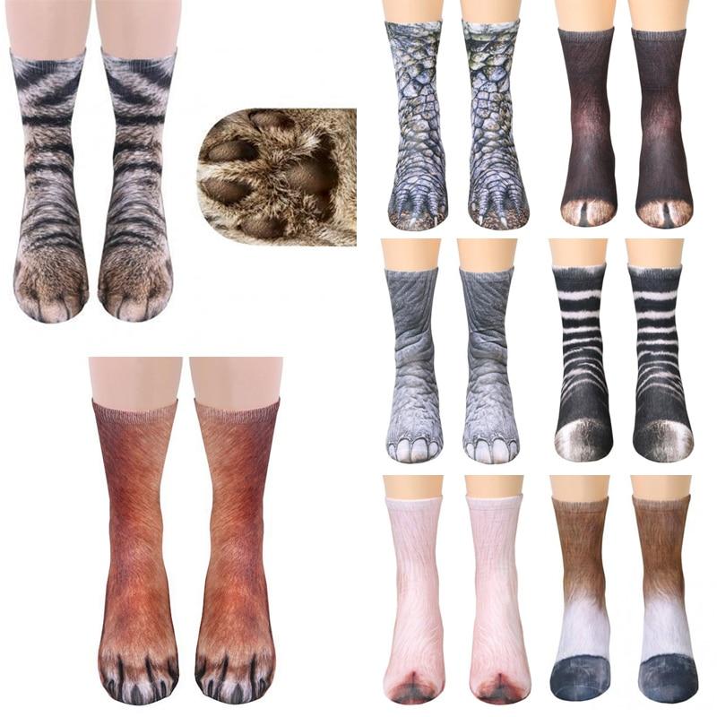 New Funny Socks Animal Paw Crew Socks Cat Dog Tiger Zebra Claws 3D Printed Sockings Clothing Adult Creative Women Men 1 Pair
