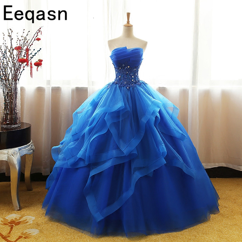 bb12d8b89f US $145.36 21% OFF|Eeqasn Puffy Ball Gown Quinceanera Dresses 2018 Vestidos  De 15 Anos Strapless Royal Blue Long Tulle Sweet 16 Dresses Plus Size-in ...