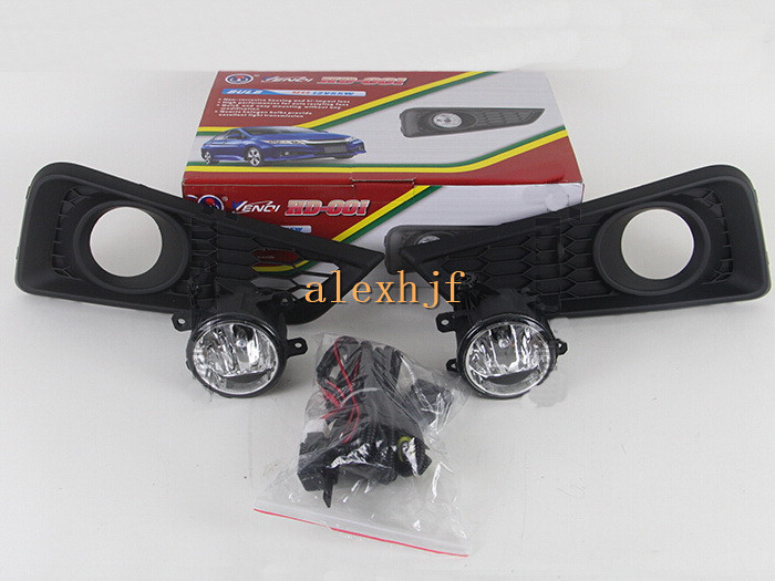July King Car Fog Lamp Assembly With Cover Case for Honda City 2014-ON, With Switch And Wiring Harness, 1 Set, Free Shipping car fog lights lamp for mitsubishi triton 2 door 2009 on clear lens pair set wiring kit fog light set free shipping