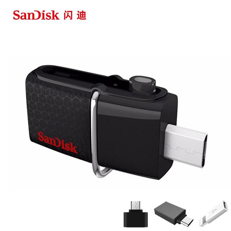 Sandisk usb флэш-накопитель 16 ГБ 32 ГБ 64 ГБ 128 ГБ 256 ГБ 150MBS ultra Dual OTG USB 3.0 pen Drives Придерживайтесь U диск компьютера телефона ПК