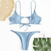 ZAFUL Braided Ribbed Cutout Swimwear Bikini Knotted Padded Thong Bikini Set Women Swimsuit Solid Bathing Suit Brazilian Biquni