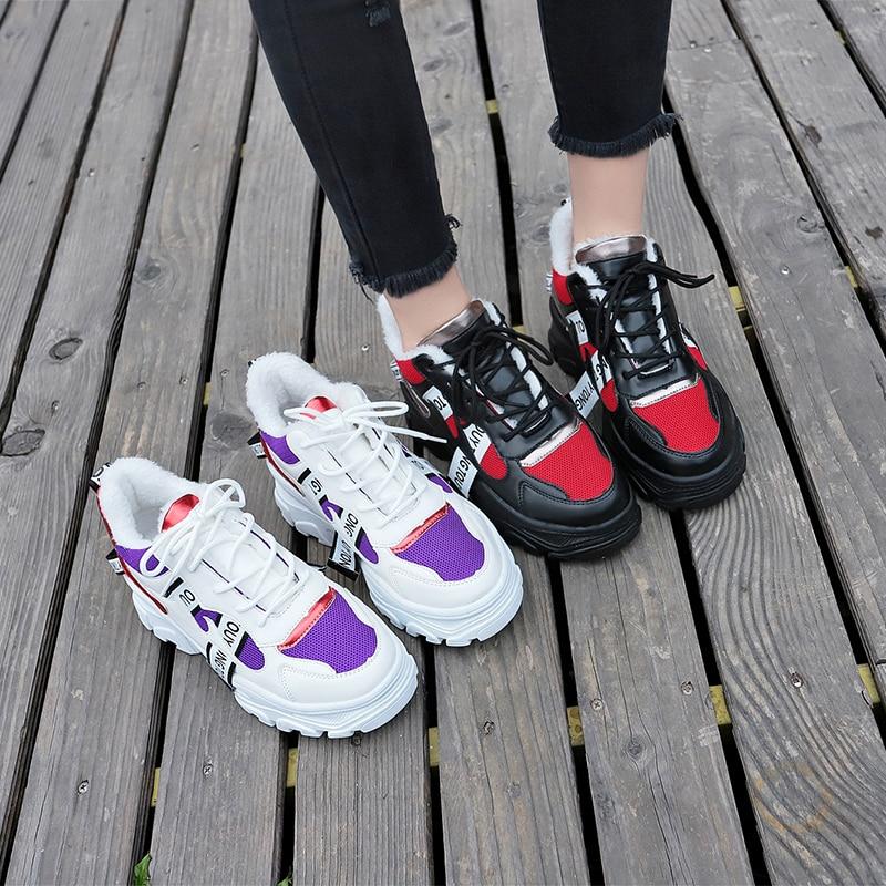 Plate Femmes Blanc Chaussures Confortables D'hiver Fur Lace Fur Noir Dames Mode Casual Up white Black Marche Fourrure Appartements De Pour forme X0Y0Swqr
