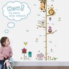 Джунгли животные Лев Обезьяна Сова высота измерения для детских комнат Рост Диаграмма Детская комната Декор стены наклейки искусство