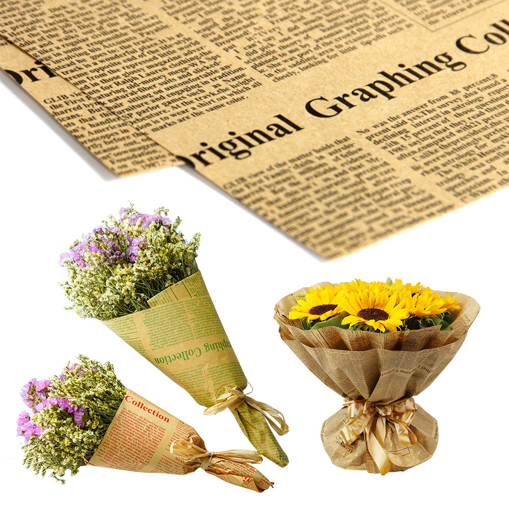 ZLJQ 45pcs Vintage Newspaper Wrap Wrapping Paper Double Sided Party Gift Flower Wrap Decor Christmas Kraft Paper