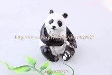 Endangered Species Panda Bear Handmade Jeweled Enameled Steel Trinket Field Panda Jewellery Field Tablet Field Figurine/Pose at Ramdon