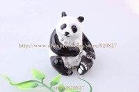 Endangered Species Panda Bear Handmade Jeweled Enameled Metal Trinket Box Panda Jewelry Box Pill Box Figurine/Pose at Ramdon