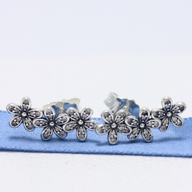 ROCKART 925 Sterling Silver Dazzling Daisies Stud Earrings With Clear CZ  Flowers For Women Fine Jewelry Gift New Hot