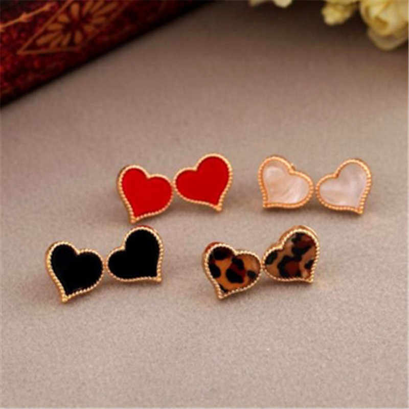new simple lovely red heart stud earrings for women gold color personality stud earrings girl fashion jewelry gifts drop ship