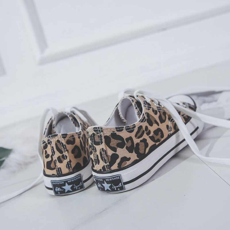 Kadınlar Flats Leopar Dantel Up Konfor Ayakkabı Bayanlar Kanvas vulkanize ayakkabı Kadın Ayakkabı Moda Rahat platform ayakkabılar