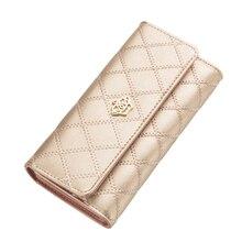 2016 mode haute capacité femmes portefeuilles Lingge or métal couronne dame longue journée embrayage portefeuille sac de haute qualité pour femmes cadeau