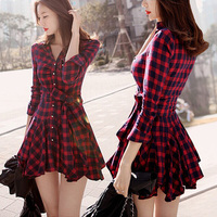 2015 Spring New Dress Women Vintage England London Style Plaid Slim Bow Sash Long Sleeve Pleated