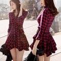 2016 Primavera Vestido de Las Mujeres de La Vendimia de Londres Inglaterra Estilo de la Tela Escocesa Delgada Bow Sash Manga Larga Plisada Vestido de Camisa Roja 1196