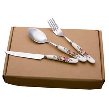 0 3pcs Ceramic handle stainless steel west tableware cutlery knife fork spoon set