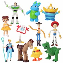 Hot ! Movie Toy Story 4 Cartoon Woody Buzz Lightyear Jessie Forky Action Figure Keychain Doll For Kid Boy Birthday Gifts