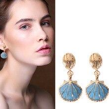 Modern Jewelry Sea Blue Color Ocean Style Shell Drop Earrings Woman Girl Lady Students Virgin Dangle Earrings Gem EH214