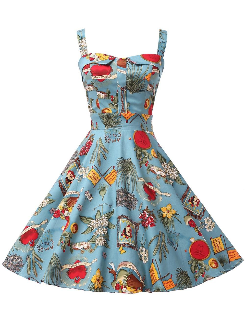 d1414e3d25d92 Vestido de verano para mujer Vestido Rockabilly señoras ropa s 50 s Vintage  vestidos Audrey Hepburn Vestido Sexy algodón Mini Vestido de fiesta Swing  en ...