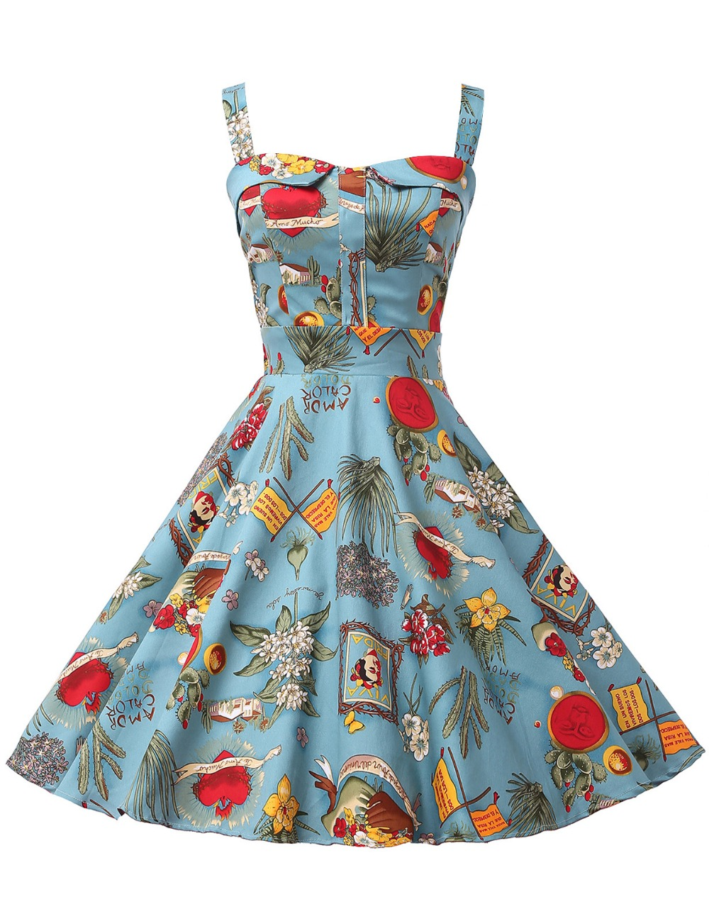 Women Summer Dress Robe Rockabilly Ladies Clothing 50s Vintage ...