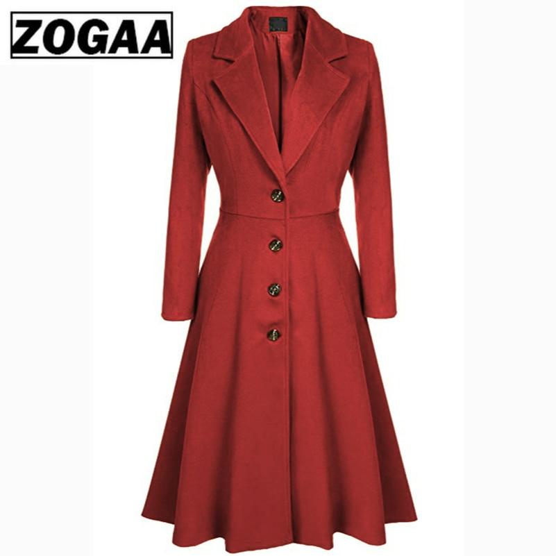 Autumn Winter Wool Coat Women Lady Solid Single Breasted X-Long   Trench   Coat Outerwear Elegant Casual Work Overcoat ZOGAA