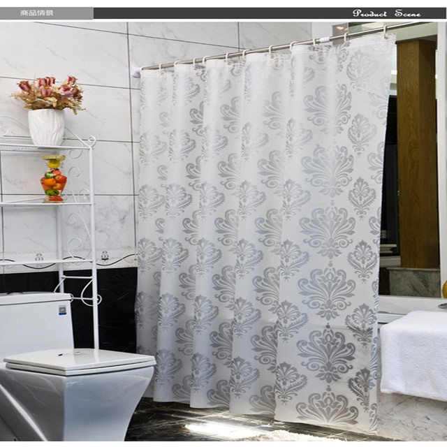 Flower Pattern PEVA Shower Curtain Mildew Waterproof Thick Translucent Shower  Curtain Hooks Complimentary
